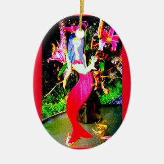 red mermaid beauty with a martini ceramic ornament