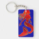 red mermaid on blue keychain