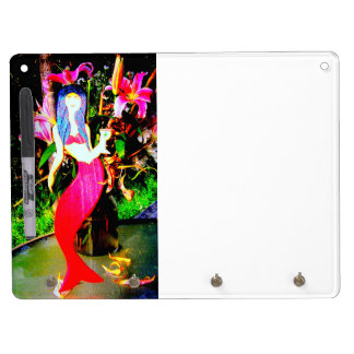 red mermaid partying dry erase board with keychain holder