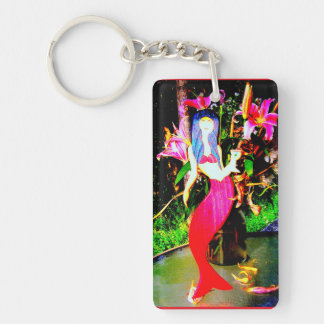 red mermaid partying keychain