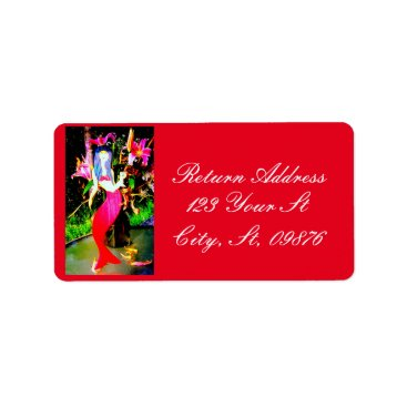 Beach Themed red mermaid partying label