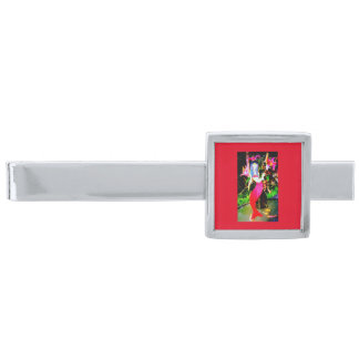 red mermaid partying silver finish tie clip