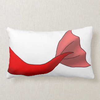 Red Mermaid Tail Lumbar Pillow