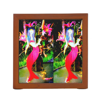 red mermaids partying pencil holder