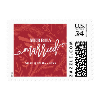Red Merrily Married Hand Lettered Wedding Holiday Postage