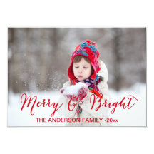 Red Merry and Bright | Holiday Photo Card Custom Invites