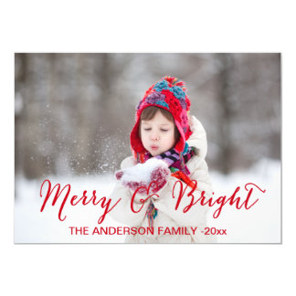 """Red Merry and Bright   Holiday Photo Card 5"""" X 7"""" Invitation Card"""