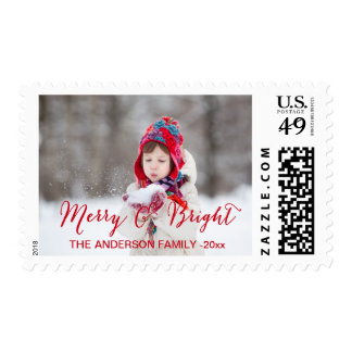 Red Merry and Bright   Holiday Photo Stamp