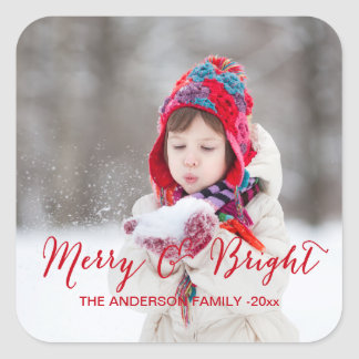 Red Merry and Bright | Holiday Photo Sticker