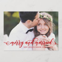 Red Merry and Married Modern Calligraphy Holiday