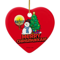 Red Merry Chrismukkah with Snowman and Menorah Ceramic Ornament
