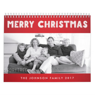 Red Merry Christmas 2017 Personalized Calendars
