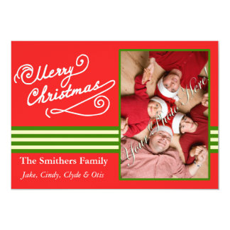 Red Merry Christmas 2 Photo Family Card