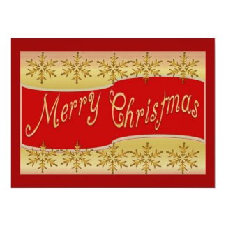 """Red Merry Christmas Banner On Gold With Snowflakes 5.5"""" X 7.5"""" Invitation Card"""