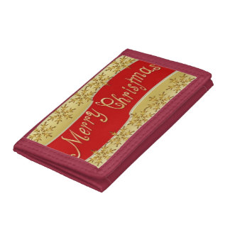 Red Merry Christmas Banner Tri-fold Wallets