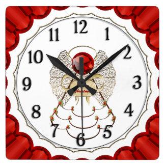 Red Merry Christmas - Filigree Christmas Angel Square Wall Clock