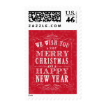 Red Merry Christmas & Happy New Year Postage Stamps
