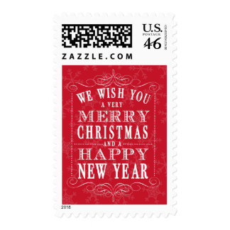 Red Merry Christmas Happy New Year Postage Stamps