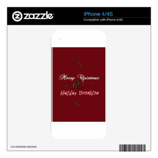 Red Merry Christmas Holiday Sunshine Wishes.png iPhone 4S Skin