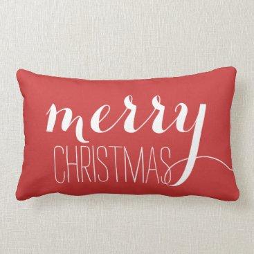 Christmas Themed Red Merry Christmas | Holiday Throw Lumbar Pillow