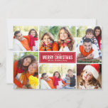 "Red Merry Christmas | Modern Photo Collage Holiday Card<br><div class=""desc"">Simple and modern style Christmas card features six (6) photos,  a custom holiday greeting,  and sleek stripes on the back side.  Colors: holiday red and white</div>"