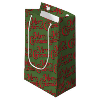 Red Merry Christmas on Changeable Background Small Gift Bag