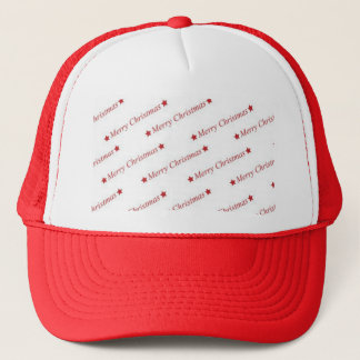 Red Merry Christmas On Whote Background Trucker Hat
