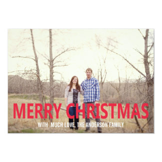 Red Merry Christmas Photo Flat Cards