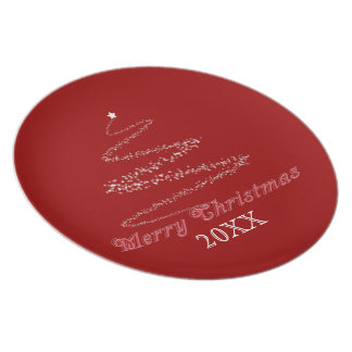 Red Merry Christmas Plate Template
