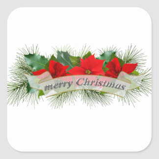 Red Merry Christmas poinsettia Square Stickers