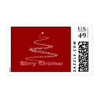 Red Merry Christmas Postage Stamp