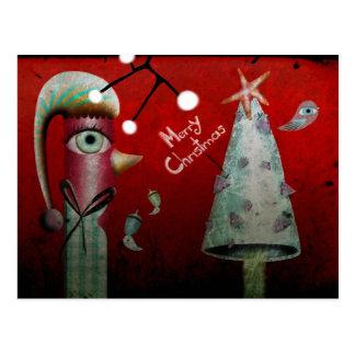 Red Merry Christmas Postcard