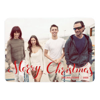 Red Merry Christmas Script Holiday Photo Flat Card