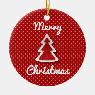 Red Merry Christmas Tree Circle Ornament