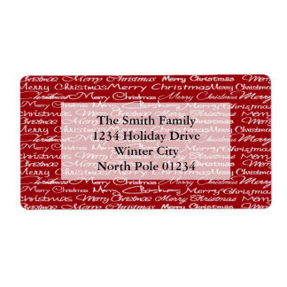 Red Merry Christmas Typography Pattern Label