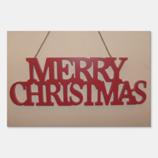 Red MERRY CHRISTMAS yard sign