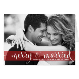 Red Merry Married Calligraphy Holiday Photo Card