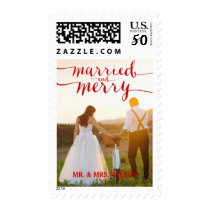 RED MERRY & MARRIED | HOLIDAY PHOTO POSTAGE