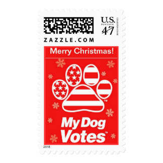 Red MerryChristmas Stamps From My Dog Votes