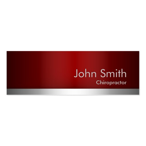 Red Metal Chiropractor Business Card