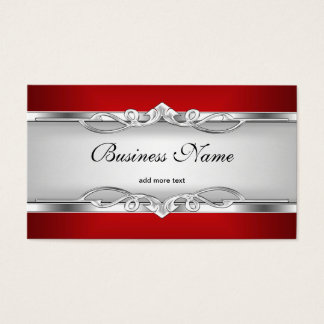 Red Metal Chrome Look  Elegant White Style Silver Business Card