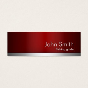 Professional Business Red Metal Fishing Guide Business Card