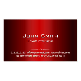 Red Metal Investigator Business Card