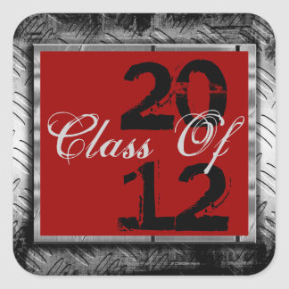 Red & Metal Look Any Year Graduation Stickers