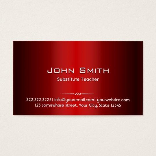 Red Metal Substitute Teacher Business Card