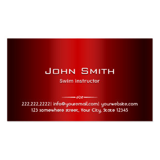 Red Metal Swim Instructor Business Card