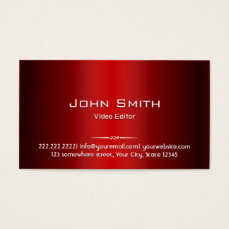 Red Metal Video Editor Business Card