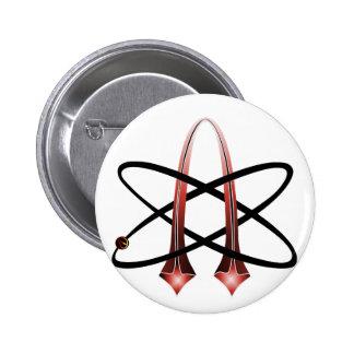 Red Metallic Atheist Symbol Button