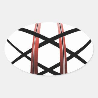 Red Metallic Atheist Symbol Oval Sticker