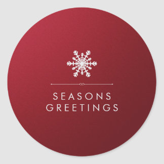 Red Metallic Background and Silver Snowflake Classic Round Sticker
